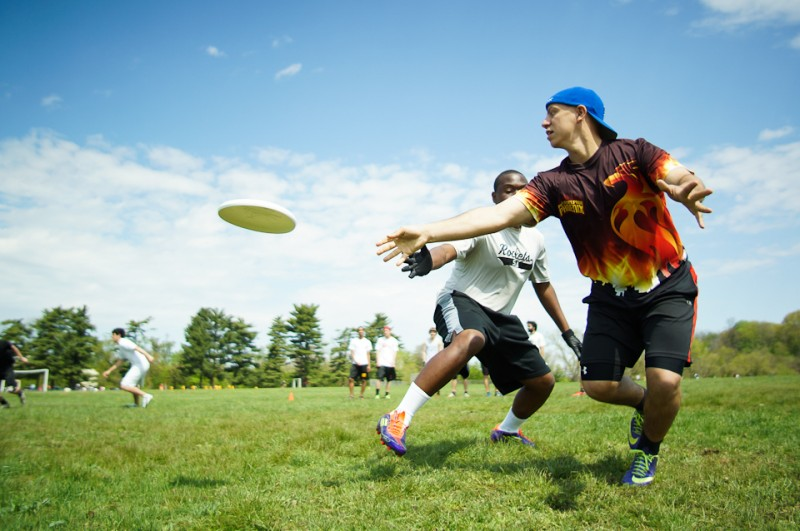 Philadelphia, PA: Co-captain David Brandolph executes a drill at the tryouts for the new Philadelphia Open division Ultimate Frisbee team. May 3, 2014. Photo by Sean Carpenter.